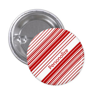 Red and White Peppermint Candy Stripes With Name 3 Cm Round Badge