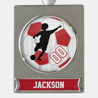 Red and White Personalize Boy Soccer Player Silver Plated Banner Ornament