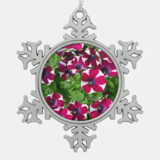 Red and white petunia flowers christmas ornament
