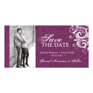 Red and White Photo Save The Date Invitation Photo Greeting Card