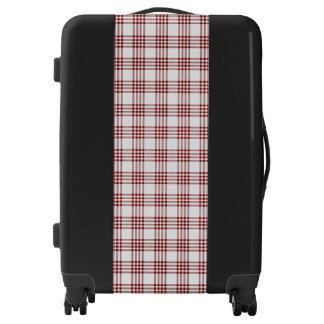 Red and White Plaid Texture Medium Sized Luggage