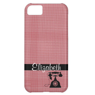 Red and White Plaid with Antique Telephone iPhone 5C Case