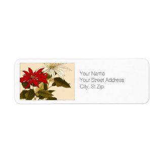 Red and White Poinsettias Botanical Art Return Address Label