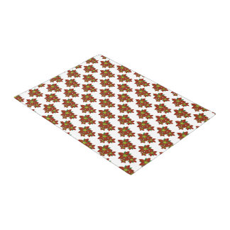 Red And White Poinsettias  Christmas Pattern Doormat