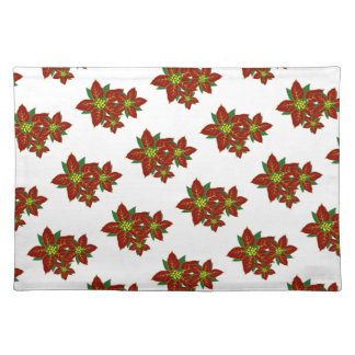Red And White Poinsettias  Christmas Pattern Placemat
