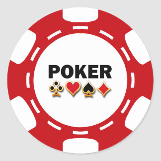 RED AND WHITE POKER CHIP CLASSIC ROUND STICKER