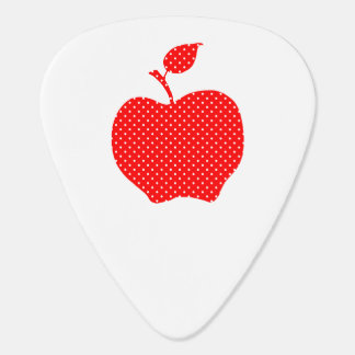 Red and White Polka Dot Apple Guitar Pick