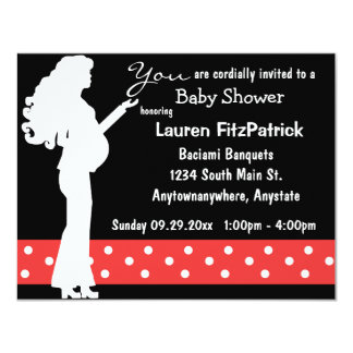 "Red And White Polka Dot Baby Shower Invitation 4.25"" X 5.5"" Invitation Card"