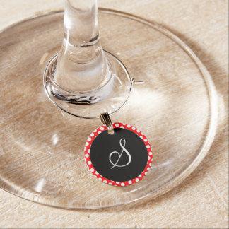 Red and White Polka Dot Black Circle Monogram Wine Charm