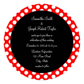 Red and White Polka Dot Black Circle Wedding 13 Cm X 13 Cm Square Invitation Card