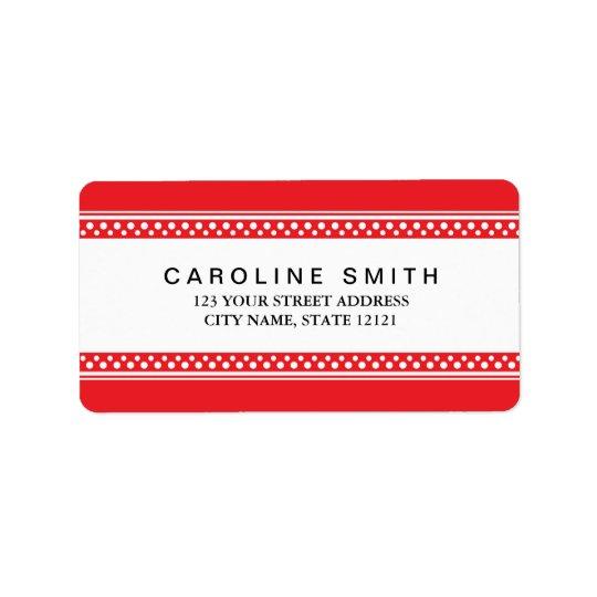 Red and white polka dot borders return address label