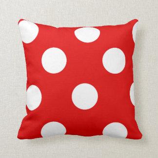 Red and White Polka Dot Cushion