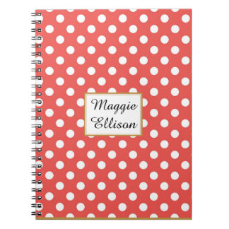 Red and White Polka Dot Custom Spiral Notebook