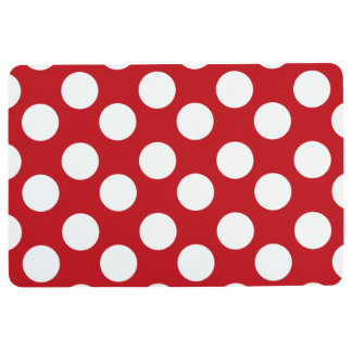 Red and White Polka Dot Floor Mat