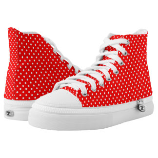 Red and White Polka Dot High Top Shoes Printed Shoes