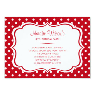 Red and White Polka Dot Invitations