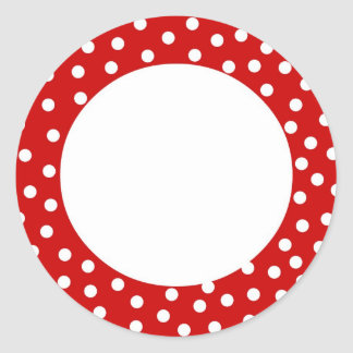 Red and white polka dot label
