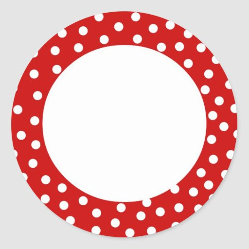 Red and white polka dot label sticker