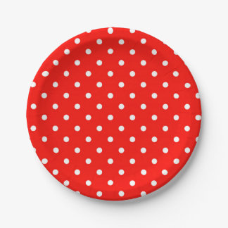 Red and white polka dot modern glamour 7 inch paper plate