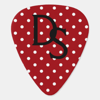 Red and White Polka Dot Monogram Guitar Pick