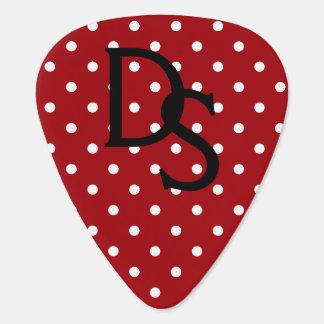 Red and White Polka Dot Monogram Guitar Pick