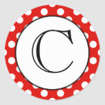 Red and White Polka Dot Monogrammed Sticker