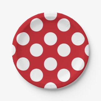 Red and White Polka Dot Paper Plates 7 Inch Paper Plate