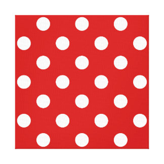 Red and White Polka Dot Pattern Canvas Print