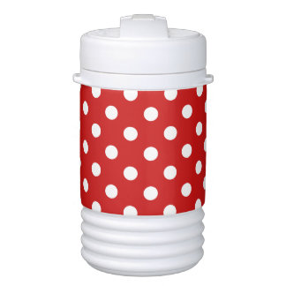 Red and White Polka Dot Pattern Cooler