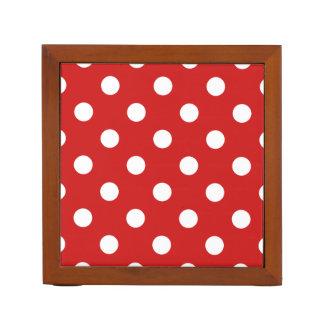 Red and White Polka Dot Pattern Desk Organiser