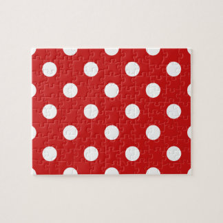 Red and White Polka Dot Pattern Jigsaw Puzzle