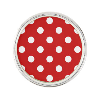 Red and White Polka Dot Pattern Lapel Pin