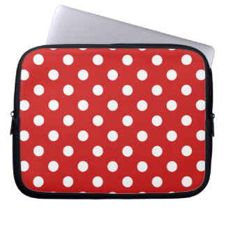 Red and White Polka Dot Pattern Laptop Sleeve