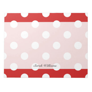 Red and White Polka Dot Pattern Notepad