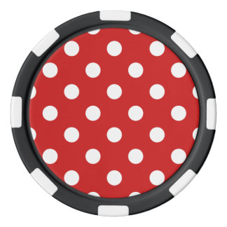 Red and White Polka Dot Pattern Poker Chips