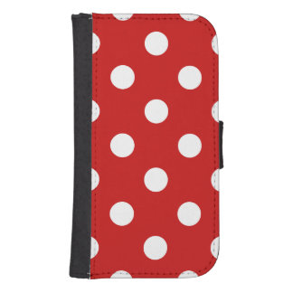 Red and White Polka Dot Pattern Samsung S4 Wallet Case