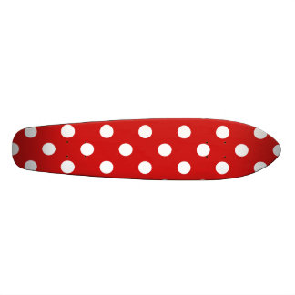 Red and White Polka Dot Pattern Skateboard