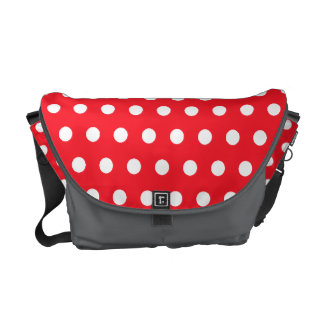 Red and White Polka Dot Pattern. Spotty. Courier Bag