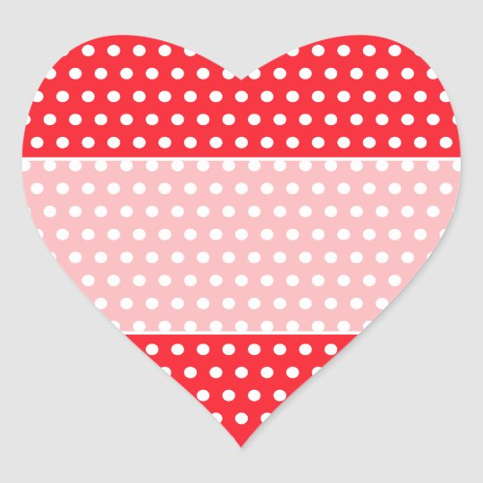 Red and White Polka Dot Pattern. Spotty. Heart Sticker