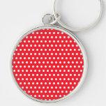 Red and White Polka Dot Pattern. Spotty. Keychain