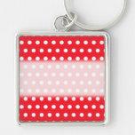 Red and White Polka Dot Pattern. Spotty. Keychains