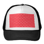 Red and White Polka Dot Pattern. Spotty. Mesh Hat