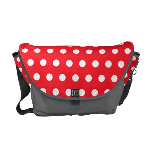 Red and White Polka Dot Pattern. Spotty. Messenger Bags
