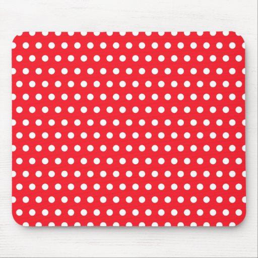 Red and White Polka Dot Pattern. Spotty. Mousepads