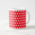 Red and White Polka Dot Pattern. Spotty. 20 Oz Large Ceramic Coffee Mug