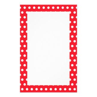 Red and White Polka Dot Pattern. Spotty. Stationery Design