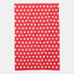 Red and White Polka Dot Pattern. Spotty. Kitchen Towel