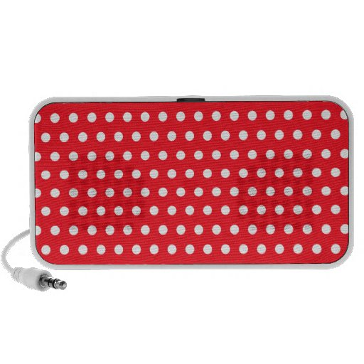 Red and White Polka Dot Pattern. Spotty. Travelling Speakers