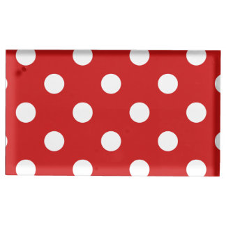Red and White Polka Dot Pattern Table Number Holder