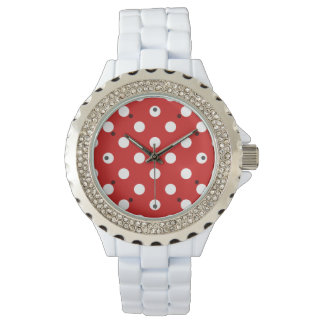 Red and White Polka Dot Pattern Watch